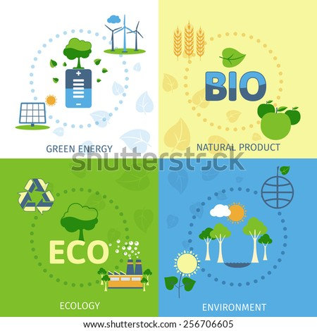 Save planet green ecological energy environment natural bio product power 4 flat icons composition abstract vector illustration - stock vector
