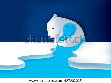 Save polar bear save animal wild life illustration vector - stock vector