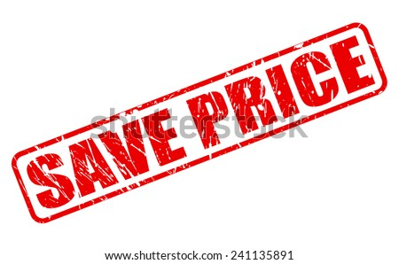 Save price red stamp text on white - stock vector