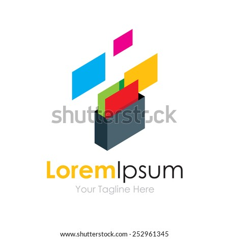 Save protect documents and files simple business icon logo - stock vector