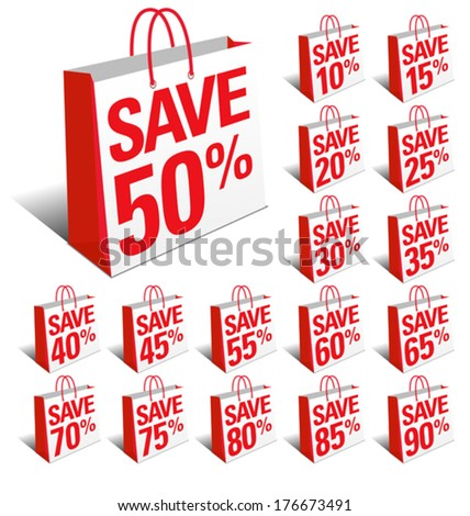 Save Sale Shopping Icon Bags with Percentage Discount, Reduced Price Symbol - stock vector