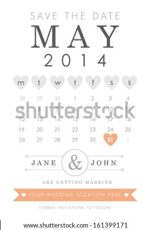 Save the date calendar style invitation - stock vector