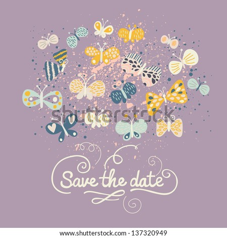 Save the date card. Cartoon butterflies in vector. Ideal modern wedding invitation in stylish colors in vector - stock vector