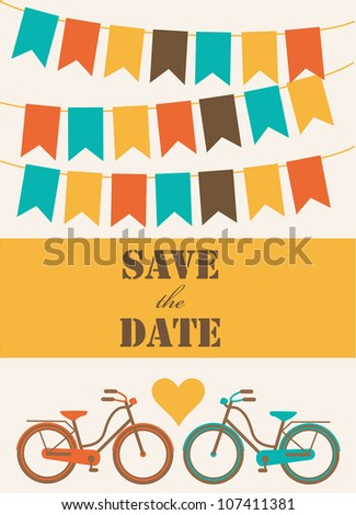 save the date card. vector illustration - stock vector