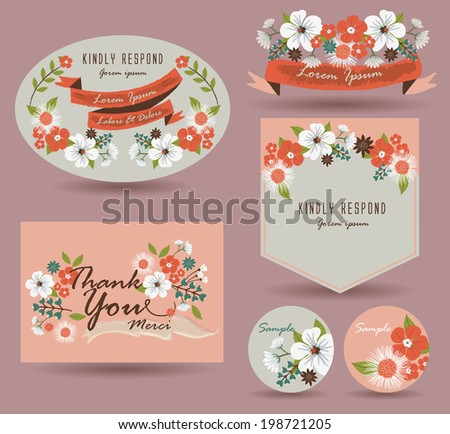 Save The Date Card & Vintage flowers Card - stock vector