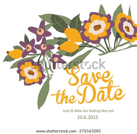 Save The Date Card / Wedding Invitation - stock vector