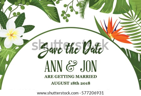 Save date card tropical exotic leafs em vetor stock 577206931 save the date card with tropical exotic leafs and flowers wedding invitation design with jungle stopboris Images