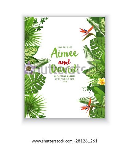 Save the date card with tropical plants and flowers - stock vector