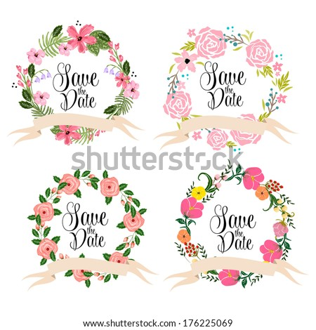 Save the date cards. Floral wedding wreath. - stock vector