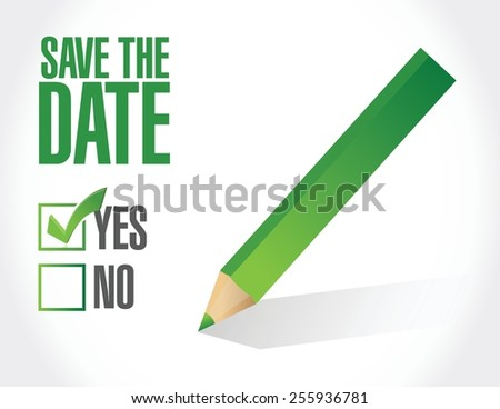 save the date check mark illustration design over a white background - stock vector
