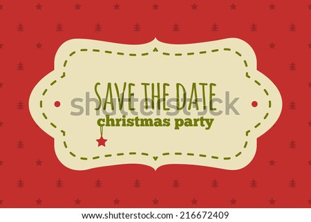 Save the date christmas card. Traditional red and green colors. Vintage frame with christmas decoration on a polka dot background.