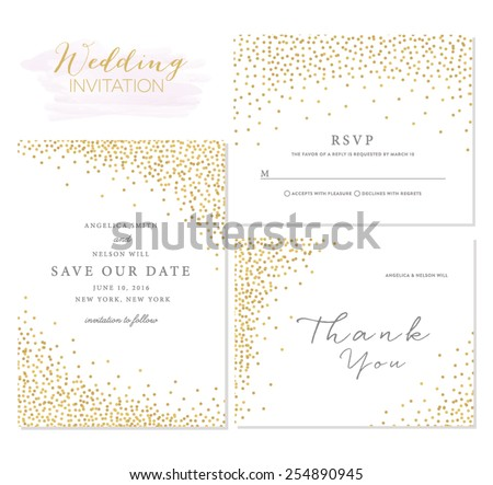 Save the Date Collection with Confetti Design - stock vector