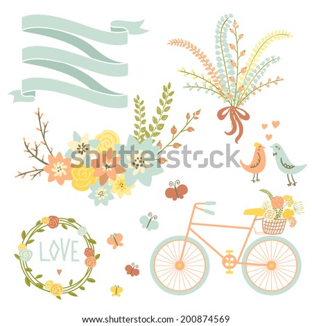 Save the date design collection with bike, basket, birds, hearts, wreath and butterfly. Hand drawn vintage flower bouquet set. Retro flowers in vector.  - stock vector