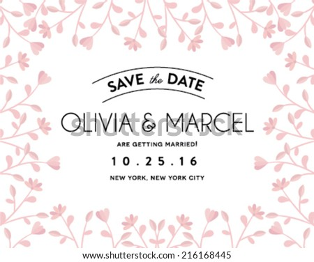 Save the Date Design with Flowers Frame