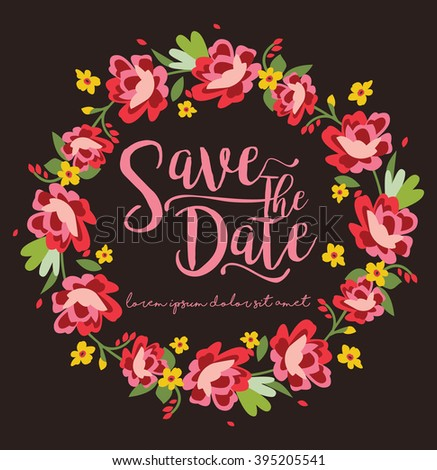 Save The Date / Floral Wreath - stock vector