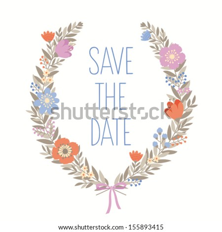 Save the date flower wreath card