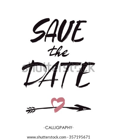Save the date hand lettering handmade calligraphy. Vector illustration. - stock vector