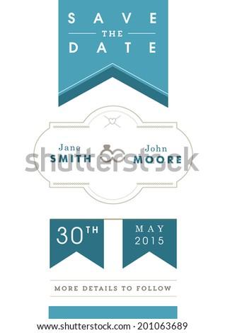 Save the date invitation blue ribbon theme - stock vector