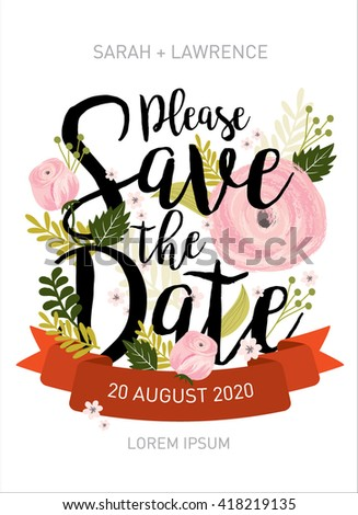 save the date invitation card template vector/illustration - stock vector