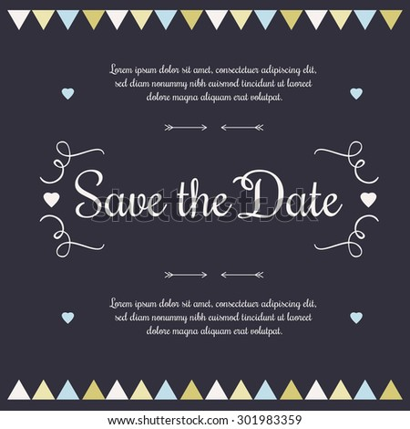 Save the date, Invitation Card.Vector Illustration.