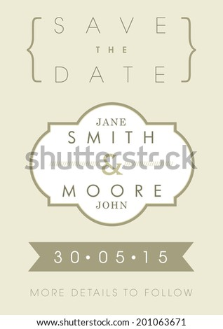Save the date invitation gold ribbon theme - stock vector
