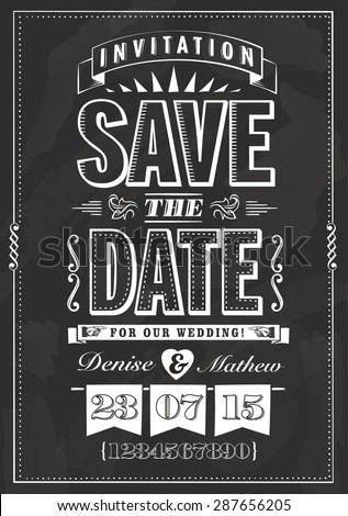 Save the date invitation in chalk style - stock vector