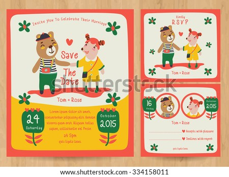 Save The Date / Just married card with cute cartoon animals - stock vector