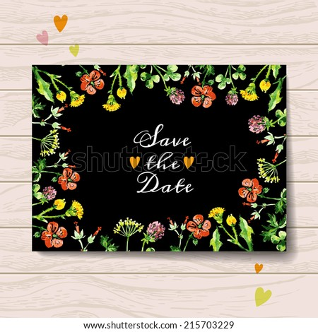 Save the date love card with watercolor floral bouquet. Wedding and Valentines Day vector illustration - stock vector