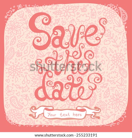 Save the date on doodle background.