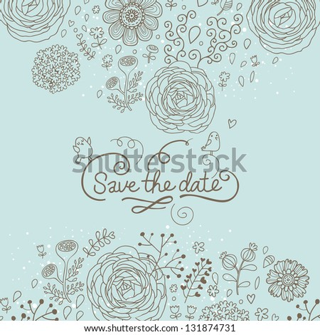 Save the date. Stylish floral wedding invitation in vector. Romantic floral wedding card - stock vector