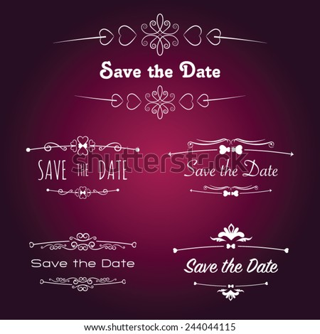 Save the Date titles with Calligraphic Design Decorative Elements - stock vector