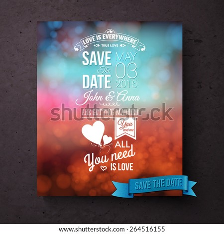 Save The Date vector wedding template with stylish white text with inspirational messages of love and editable text over a blurred abstract background in blue and red hues with symbolic hearts - stock vector