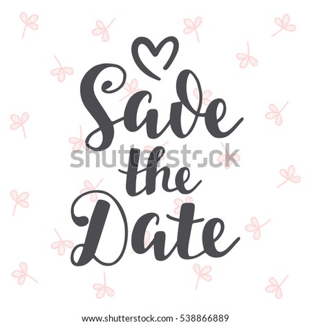 save the date vintage hand written lettering wedding invitation card banner template modern