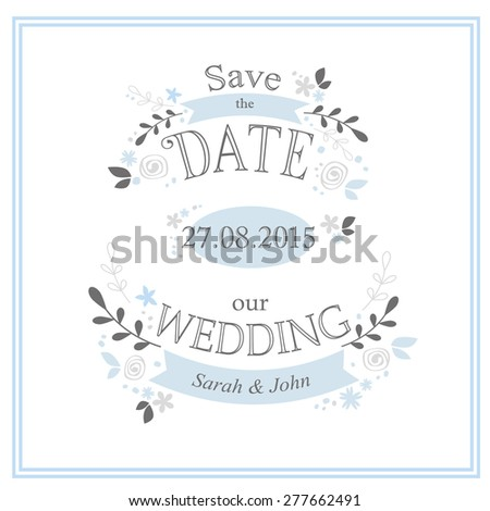 Save the Date. Wedding card template  - stock vector
