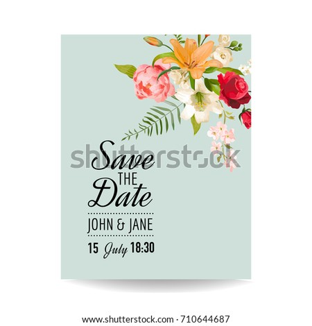 Save Date Wedding Card Watercolor Lily Stock Vector Hd Royalty Free