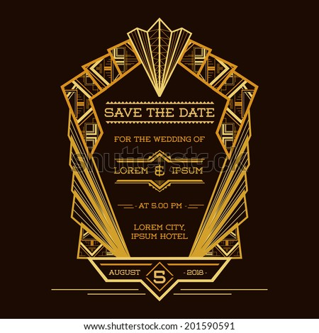 Save date wedding invitation card art stock vector 201590591 save the date wedding invitation card art deco vintage style in vector stopboris Images