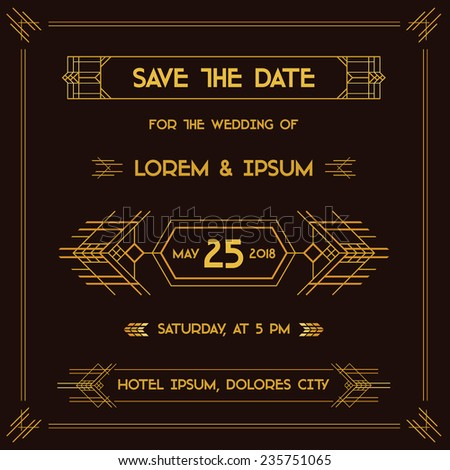Save the Date - Wedding Invitation Card - Art Deco Vintage Style - in vector - stock vector