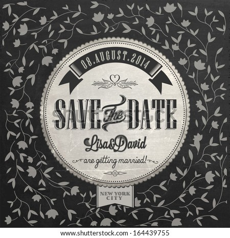 Save The Date Wedding invitation Card On Blackboard With Chalk - stock vector