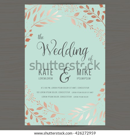 Save the date, wedding invitation card template with copper color flower floral background. Vector illustration.