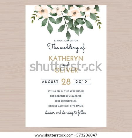 Save Date Wedding Invitation Card Template Stock Vector 2018