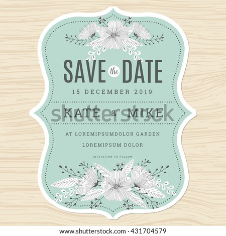 Save the date, wedding invitation card template with hand drawn flower floral background in green mint color. Vector illustration. - stock vector