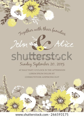 Save the date. Wedding invitation card with beautiful flowers. - stock vector