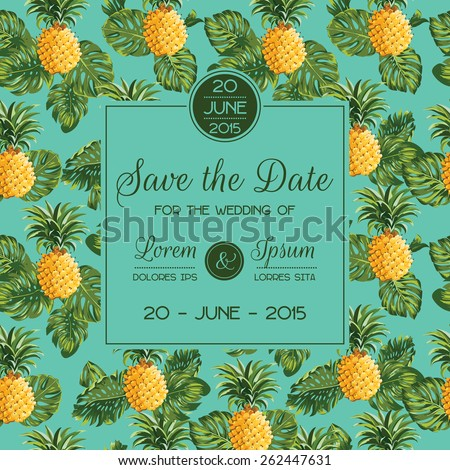 Save the Date - Wedding Invitation Card - with Retro Pineapples - in vector - stock vector