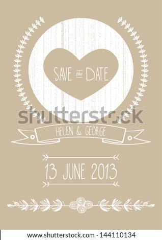 Save Date Wedding Invitation Template Vector Stock Vector 144110134 ...