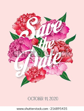 save the date with peonies template vector/illustration - stock vector
