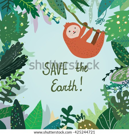 Save the Earth card with tropical forest, nature and animal. Vector graphic illustration