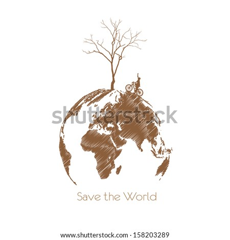Save the earth, Dry tree on globe. Vector illustration