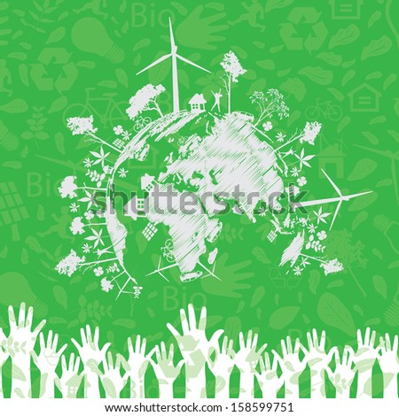 Save the earth.Vector illustration - stock vector