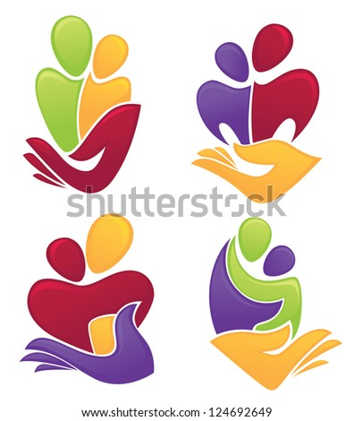 save the family, people in love, vector symbols collection - stock vector