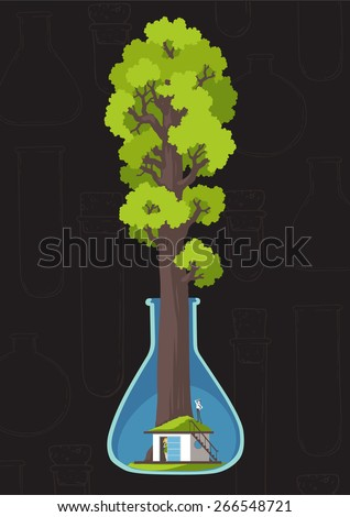 Save the forest and planet. Family house under sequoia. Ukraine - stock vector
